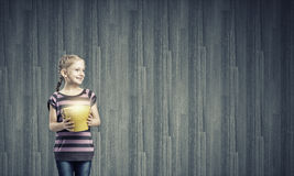 Kid with bucket Stock Photos