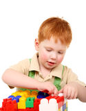 Kid build tower Stock Image