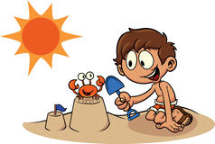 Kid building a sand castle. Cartoon kid building a sand castle. Vector clip art illustration. All in a single layer Stock Images