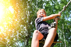 Kid Bungee jumping Royalty Free Stock Photo