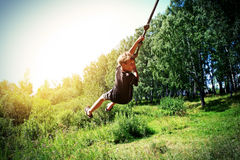 Kid Bungee jumping Royalty Free Stock Images