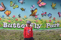 Kid at Butterfly park, Ramoji film city, hyderabad Stock Photo
