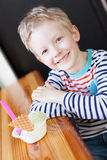 Kid at cafe Royalty Free Stock Photos