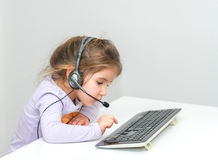 Kid call center Royalty Free Stock Images