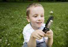 Kid Calling Stock Image
