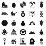 Kid camp icons set, simple style Royalty Free Stock Photography