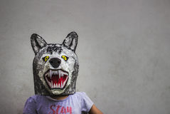 Kid with carton wolf mask royalty free stock images
