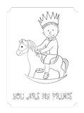 Kid cartoon outline prince card for coloring. Kid cartoon cute prince outline card. Vector coloring page for boy and girl. Hand-drawn, doodle style. Design for t Stock Images