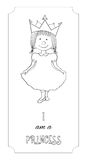 Kid cartoon princess outline card for coloring Stock Images