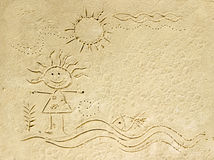 Kid cartoon on sand beach. Stock Photography
