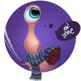 Kid cartoon snail doing selfie vector illustration