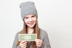 Kid and cash Stock Photo