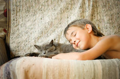 Kid and cat Stock Photo