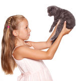 Kid with cat Royalty Free Stock Images