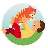 Kid and cat Stock Image