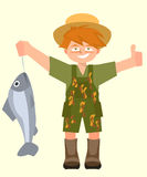 Kid with caught fish vector cartoon. Kid with caught fish and thumb up - funny vector cartoon illustration Royalty Free Stock Photo