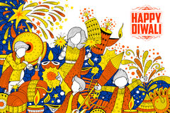 Kid celebrating happy Diwali Holiday doodle background for light festival of India. Illustration of kid celebrating happy Diwali Holiday doodle background for Royalty Free Stock Photography