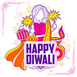 Kid celebrating happy Diwali Holiday doodle background for light festival of India. Illustration of kid celebrating happy Diwali Holiday doodle background for Royalty Free Stock Photos