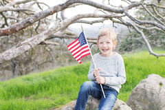 Kid celebrating 4th of july Stock Image