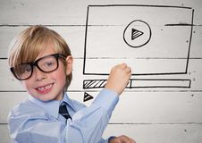 Kid with chalk and website mock up against white wood panel Royalty Free Stock Images