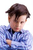 Kid challenging. In white background royalty free stock photography