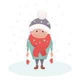 Kid character under snowflake isolated on white. Happy kid on winter. Vector Illustration. Funny cartoon  character. Royalty Free Stock Photo