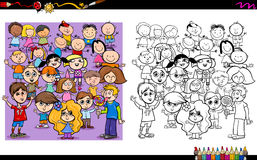 Kid characters coloring book Royalty Free Stock Photography