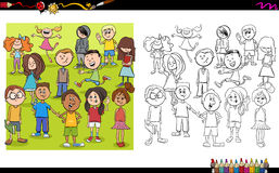 Kid characters coloring book Stock Image