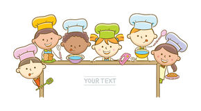 Kid Chefs And Whiteboard Stock Images