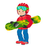 Kid child boy with snowboard winter sport jacket hat clothing snow vector graphic isolated and flat illustration. Kid child boy smile with snowboard winter sport Stock Photography