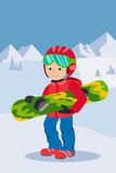 Kid child boy with snowboard winter sport jacket hat clothing snow vector graphic isolated and flat illustration Royalty Free Stock Image
