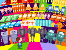 Kid choosing a toy. Illustration of young child choosing a new toy in the store royalty free illustration