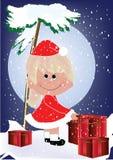 Kid with christmas. Bag vector Stock Photos