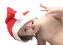 The kid in a christmas cap Royalty Free Stock Photography