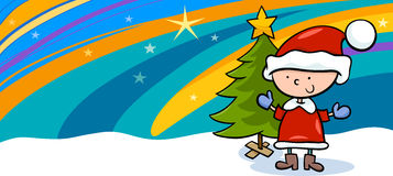 Kid on christmas cartoon greeting card Royalty Free Stock Photo