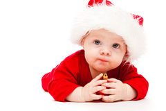 Kid with Christmas decoration Stock Photos