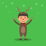 Kid in a Christmas deer costume Stock Photo