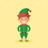 Kid in a Christmas Elf costume. Cute kid in a Christmas Elf costume and snowflake on background. New year carnival person. Vector illustration in cartoon style Royalty Free Stock Photos