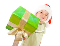 Kid with christmas gift Stock Photo