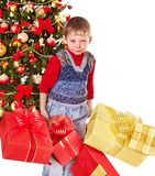 Kid with Christmas gift box. Stock Photography