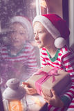 Kid at christmas Royalty Free Stock Photo