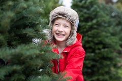 Kid at christmas market Royalty Free Stock Photos