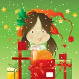 Kid with christmas presents. Cartoon kid with stack of Christmas presents, vector greeting card, easy to change background color Royalty Free Stock Photography