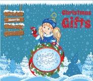 Kid Christmas Template Royalty Free Stock Image