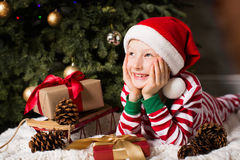Kid at christmas time Stock Image