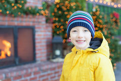 Kid at christmas time Stock Photography