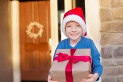Kid at christmas time Royalty Free Stock Image