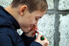 Kid with Cigarette Stock Photography