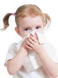 Kid cleaning running nose with tissue isolated stock images