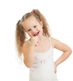 Kid cleaning teeth and smiling, isolated on white Royalty Free Stock Image